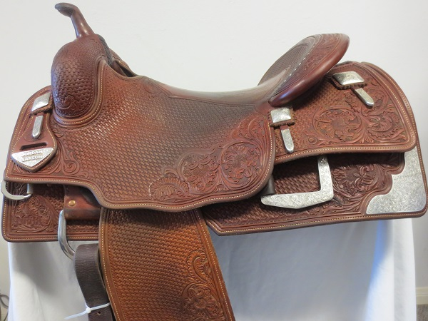 Used Saddle:Bob's Hard Seat Square Skirt Jordan Larson Show Saddle- 16- Image Number:0