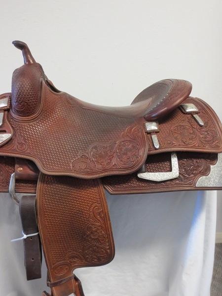 Used Saddle:Bob's Hard Seat Square Skirt Jordan Larson Show Saddle- 16- Image Number:1