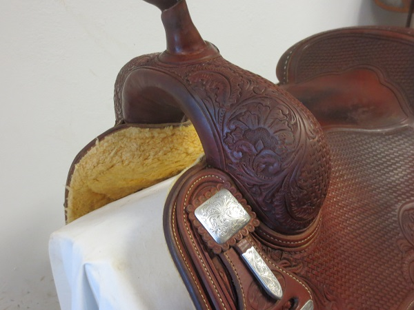 Used Saddle:Bob's Hard Seat Square Skirt Jordan Larson Show Saddle- 16- Image Number:2